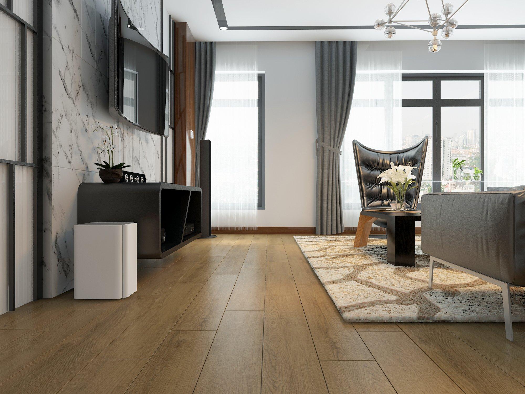 Sàn gỗ công nghiệp được làm từ các lớp gỗ được ép lại với nhau ở nhiệt độ cao